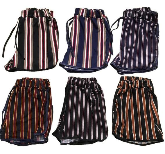 Shorts Bermuda Feminina Kit2 Malha Estampadas E Lisa Bolsos