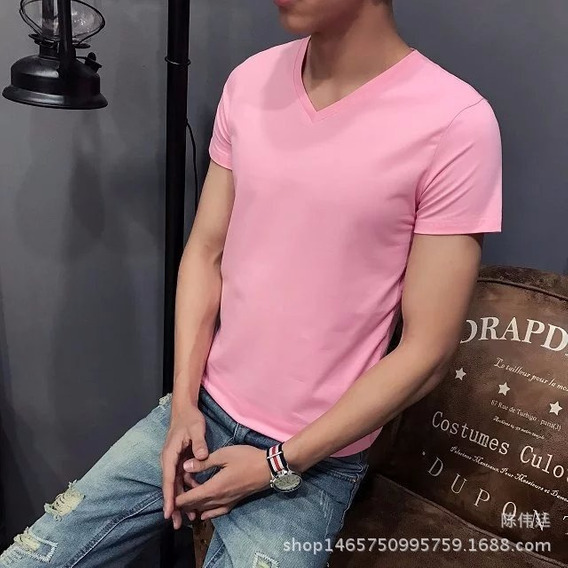 Camiseta Masc Gola V Camise Fitn Básic Cot Alg Pol Slim
