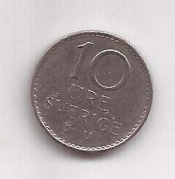 Suecia Moneda De 10 Ore Año 1973