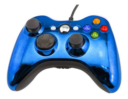 Joystick Xbox 360 Control Mando Cableado Pc Azul Cromo