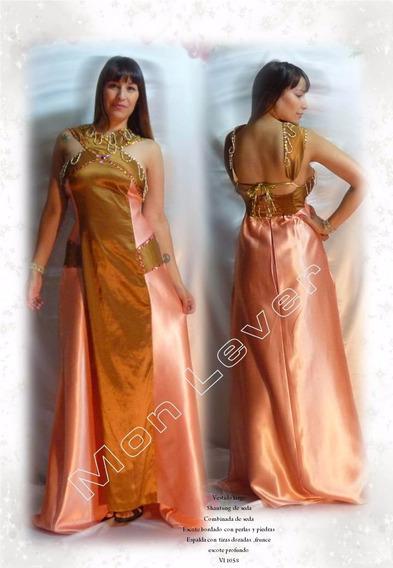 Vestido En Seda Y Chantung Bordado Impactante