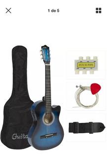 Guitarra Electroacustica Estuche Correa Afinador Cuerdas Uña