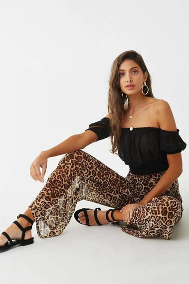Pantalón Vestir Mujer Gasa Leopardo Transparencia Forever 21