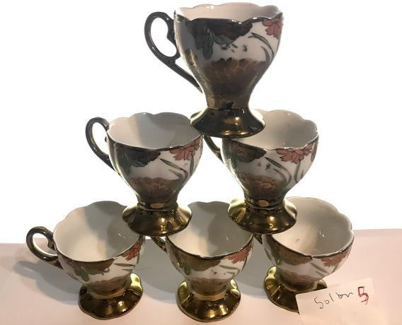 Juego De Café De 6 Pocillo Porcelana Ingles Golden 05