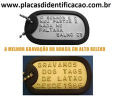 Gravação Dog Tag Latão Preta Placa Personalizada Gravada