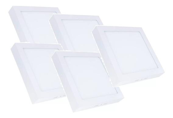 Kit 5 Plafon Quadrado Sobrepor Lampada Led Branco Frio 24w