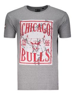 Camiseta Masculina Ticket Chicago Bulls Nba Mescla Cinza
