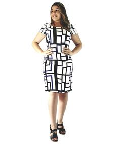 eafca2be8 Vestido Feminino Social Tubinho Em Crepe Com Estampa Geométr. 2 cores