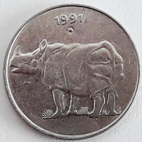 India Moneda Del Año 1991 De 25 Paise - Rinoceronte