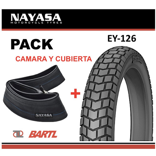 Cubierta Moto 410-18 + Cámara Nayasa Ey126