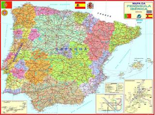 Mapa Portugal E Espanha No Mercado Livre Brasil