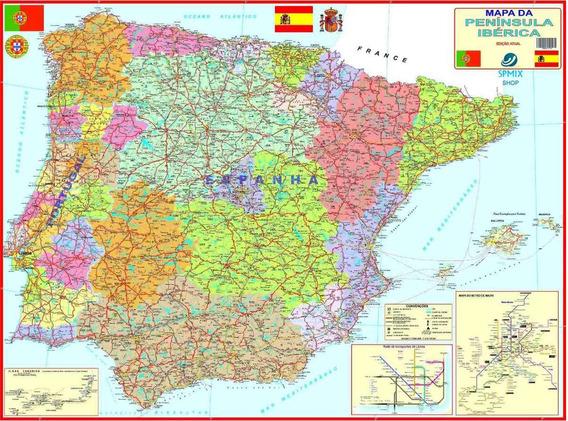 Mapa Portugal Espanha Peninsula Iberica 90 X 120