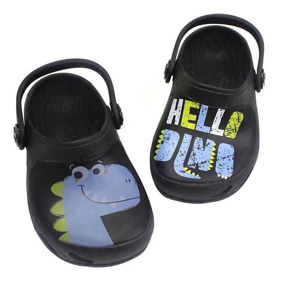 Babuche Ventor Baby Hello Dino - Preto