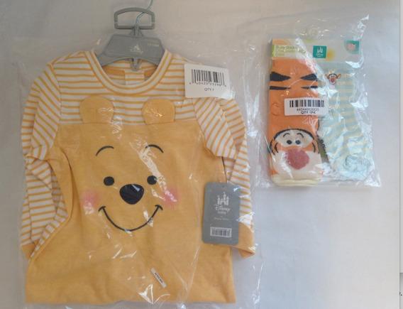 Kit 3 Pçs Macacão Pijama Bebe Urso Pooh -original Disney