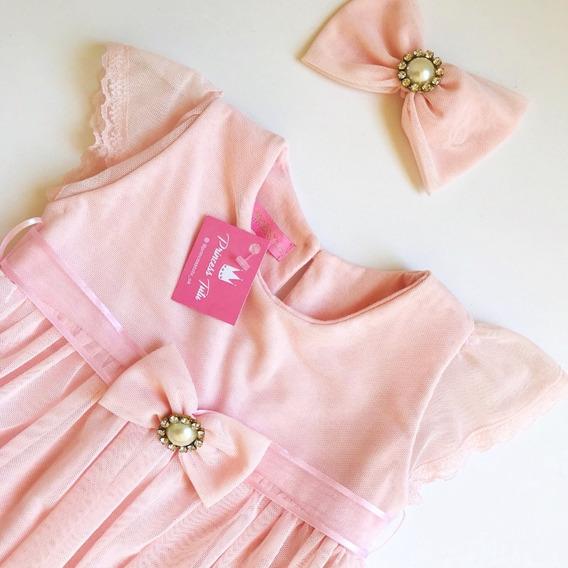 Vestido De Fiesta Princess Tutu Nenas Color Rosa Con Moño