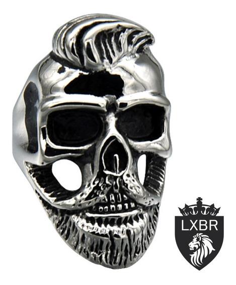 Anel Masculino Aço Inox Caveira Lenhador Punk Moto Lxbr A150