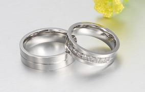 Par Alianças Banhadas A Prata Com Lindas Pedras Em Zirconia