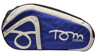 Raqueteira De Beach Tennis Tom Caruso Tour - Azul Com Preto E Branco