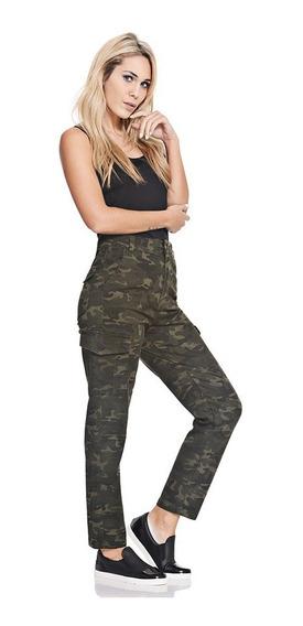 Pantalon Cargo Camuflado Militar Mujer Gabardina 36 A 44 Imb