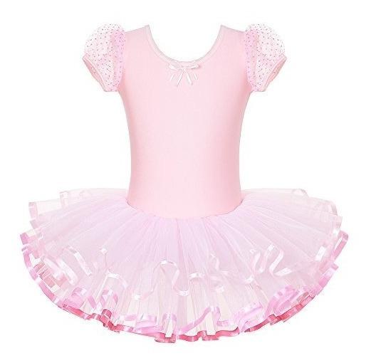 Vestido Tutu De Ballet De Manga Corta Ninos De Una Sola Piez