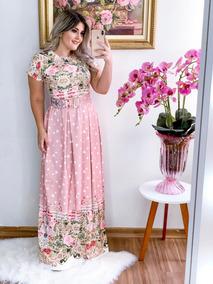 Vestido Longo Moda Evangelica Com Cinto Maravilhoso