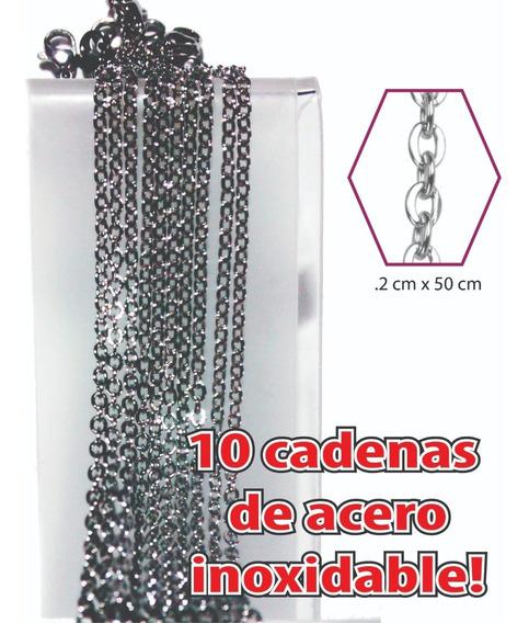 10 Cadenas Acero Inoxidable Eslabón Fino 50cm Unisex Mayoreo
