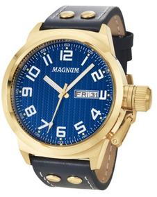 Relógio Magnum Masculino Dourado Couro - Ma32765a