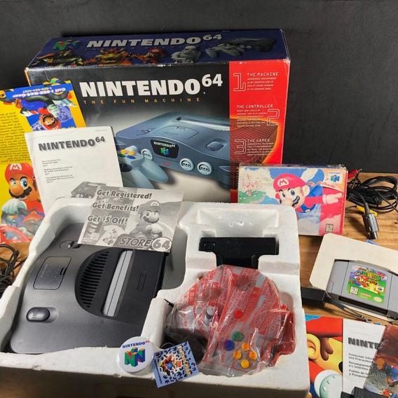 Nintendo 64 Na Caixa C/ Mario 64 Cib!! Só Ligar E Jogar!!