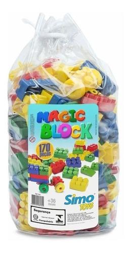 Blocos De Montar Magic Block 170 Peças - Simo Toys