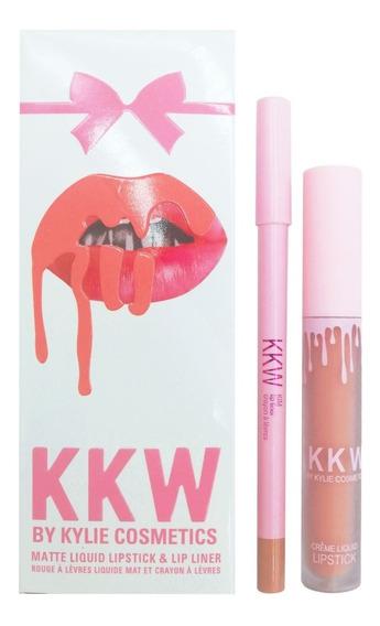 Labiales Kylie Cosmetics Edicion Kkw Con Lapiz Delineador