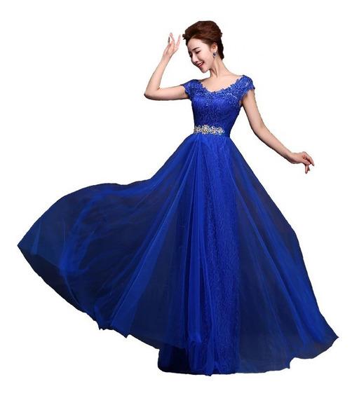 Vestido De Fiesta 15 Años Civil Noche Encaje Azul