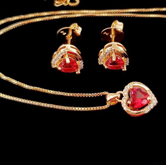 Colar Brinco Feminino Coração Cristal Vermelho Semi Joia