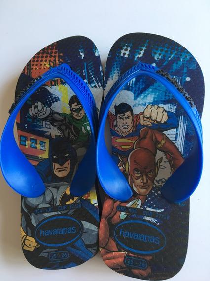 Chinelo Havaiana 25 26 Batman Superman Flash E Lanterna