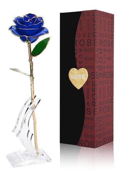 Rosa Natural Baño Oro 24k Y Base El Mejor Regalo Amor Azul