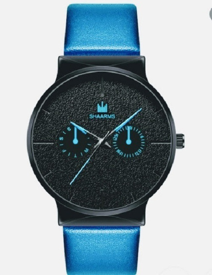 Relógio Pulso Masculino Analogic Classic Fundo Preto Shaarms