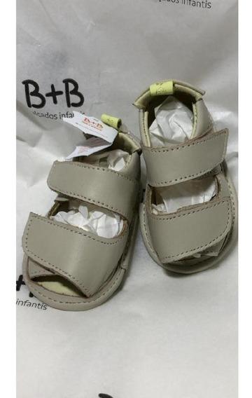 Sandalia Bebe Couro Bege B+b Menino Velcro