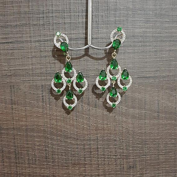 Brinco De Pedras Gotas Verde Banhado A Ouro Cravejado