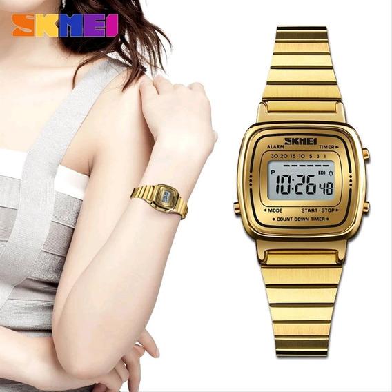 Relógio Skmei 1252 Feminino Luxo Aço Inox Várias Cores
