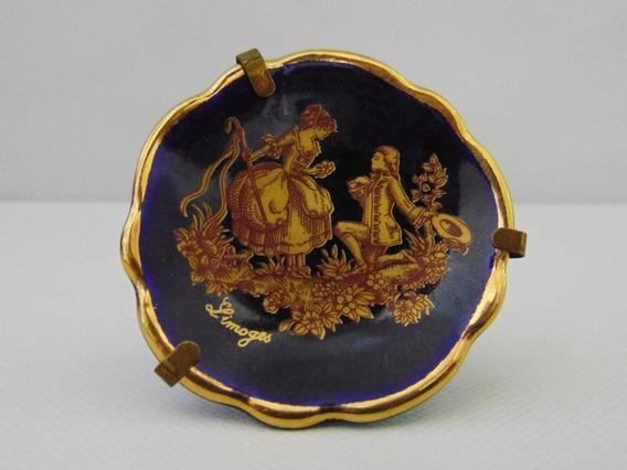 Petit Plato Porcelana Limoges Cobalto Con Escena De 5 Cm
