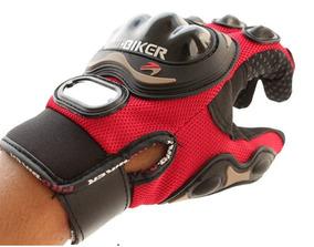 Luva Motociclista Proteções Palma E Dedos Vermelho