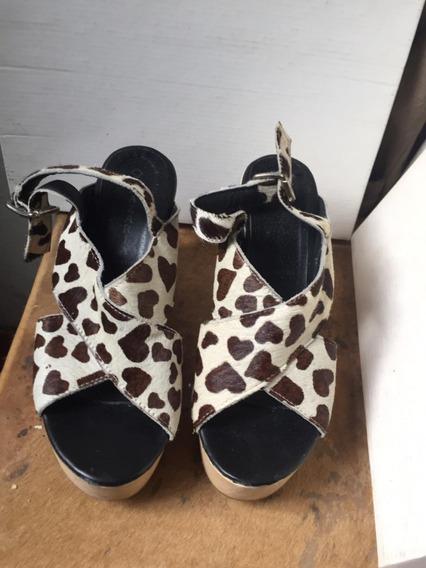 Zapatos Nazaria Sandalias Mujer Animal Print Talle 39