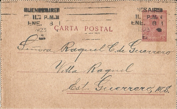 Carta Postal San Martín 1923 A Estación Guerrero Muy Buena!