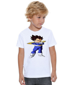 Camiseta Polyester Infantil Dragon Ball Vegeta Son Goku