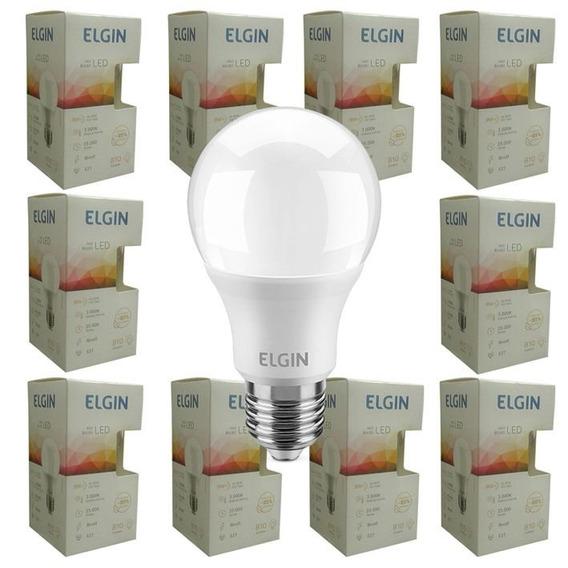 Kit 10 Lampada Led 9w Bulbo Elgin Branco Frio Branco Quente