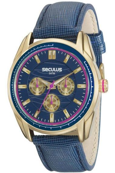 Relógio Seculus Feminino 20557lpsvdr1 Dourado Com Nf