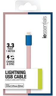 Iessentials Flat Lightning Cable De Datos 33 Pinkblue Iplh5f