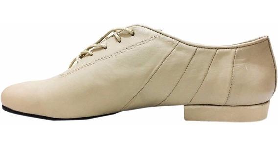 Zapatos De Baile Hombre Tango Salsa Rock Cuero Beige Flex