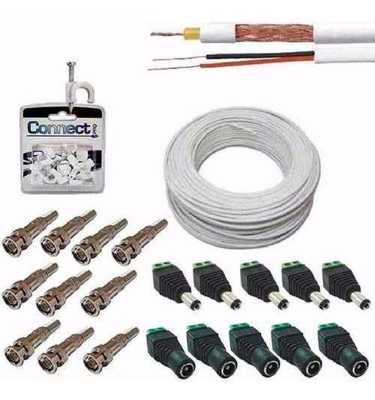 Cabo Coaxial Cftv 100mt + 20 Conectores E Fixa Cabos Kitcom1