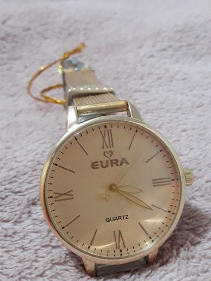 Relógio Dourado De Luxo Quartz (grande Promoção)