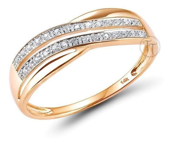 Anillo Oro Rosa 14k Infinito Diamantes 0.056 Ct